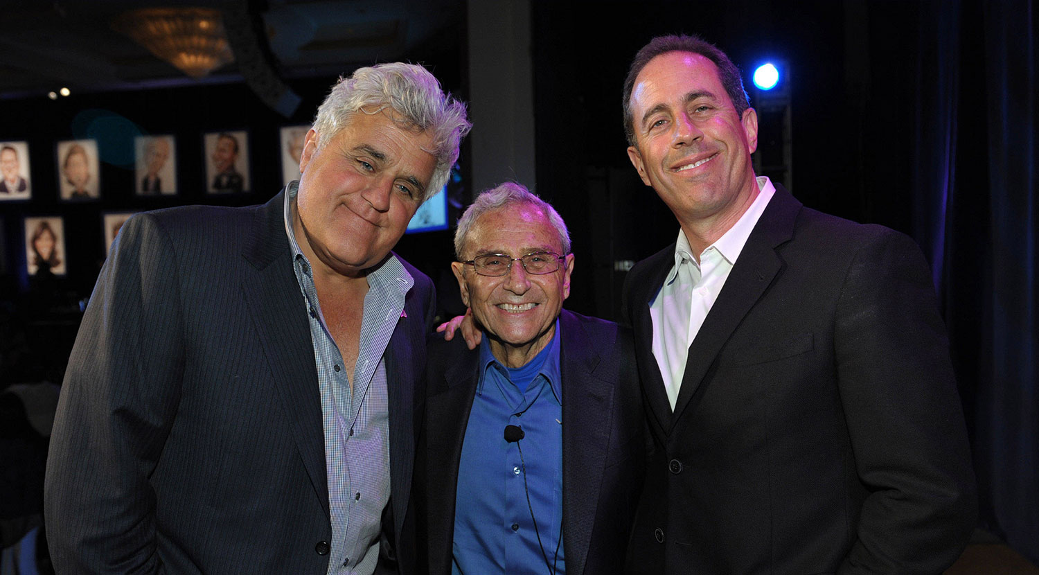 From left: Jay Leno, legendary talent manager George Shapiro, and Jerry Seinfeld
