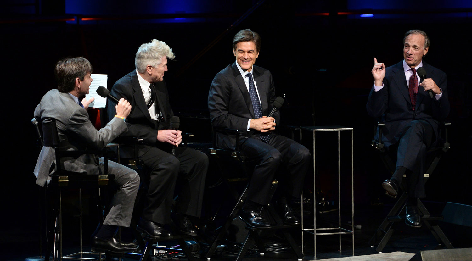 From left: George Stephanopoulos, David Lynch, Dr. Mehmet Oz, and Ray Dalio