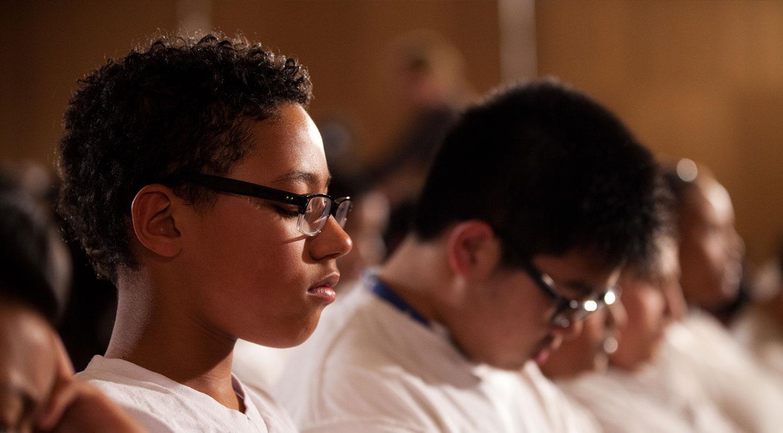 Group meditation in San Francisco Schools